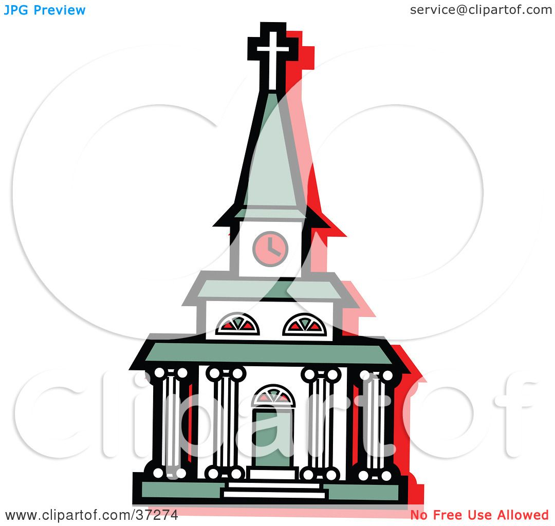 Clipart Illustration of a White Church With A Clock Tower And.