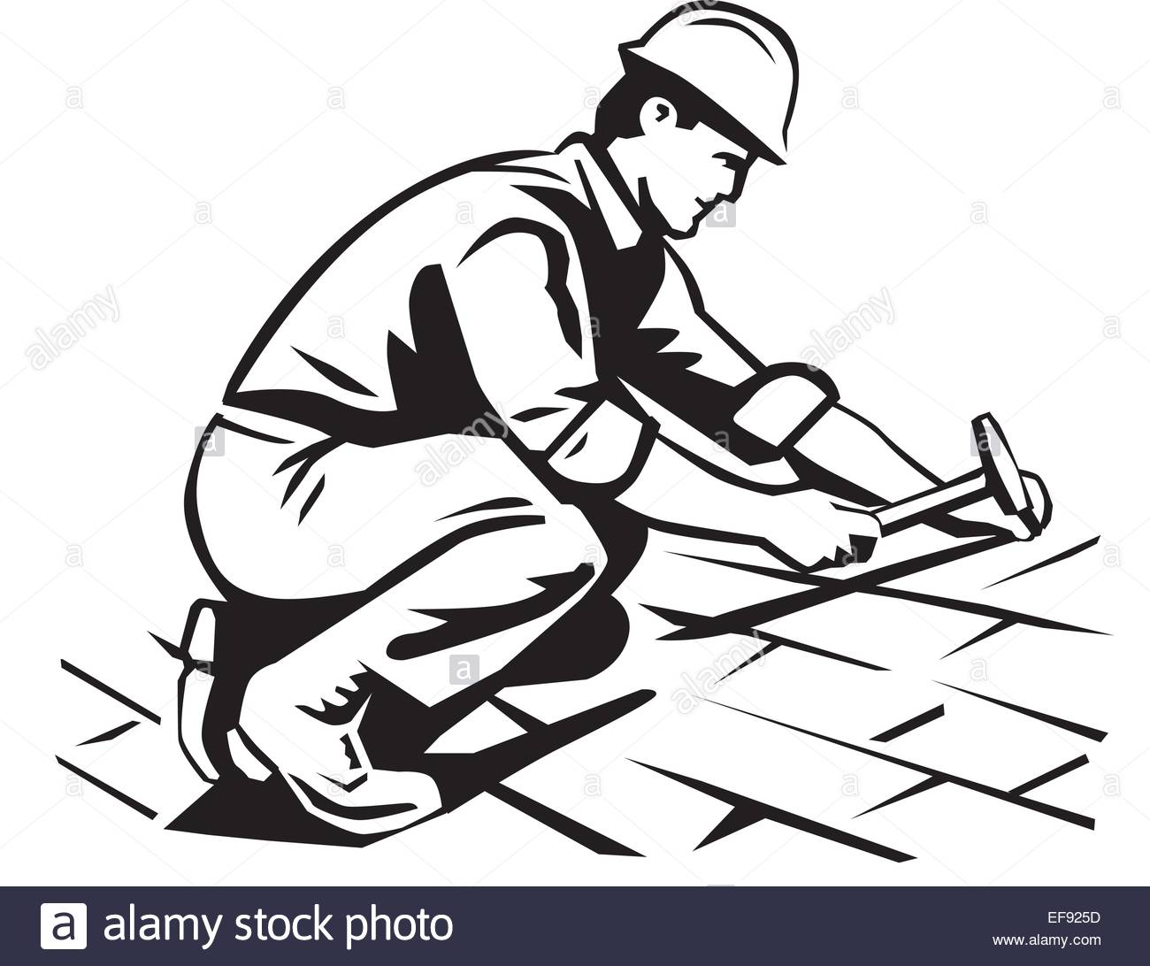 A Man Working Construction On A Roof Stock Photo, Royalty Free.