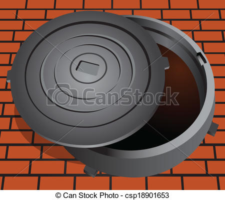 Clipart Vector of Open sewer hatch.