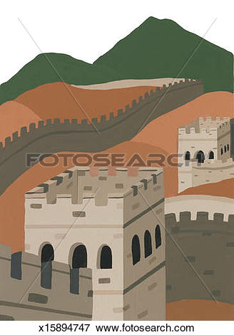 Stock Illustration of Great Wall of China x15894747.