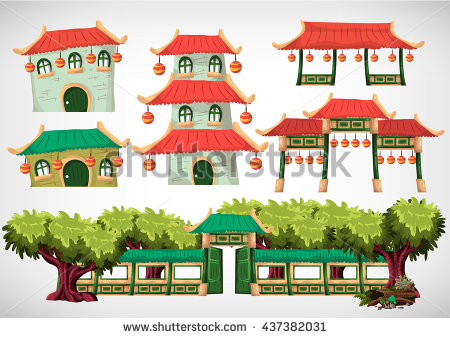 China House Objects Game Animation Game Stock Vector 437382031.