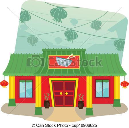 Vector Illustration of Chinese Restaurant.
