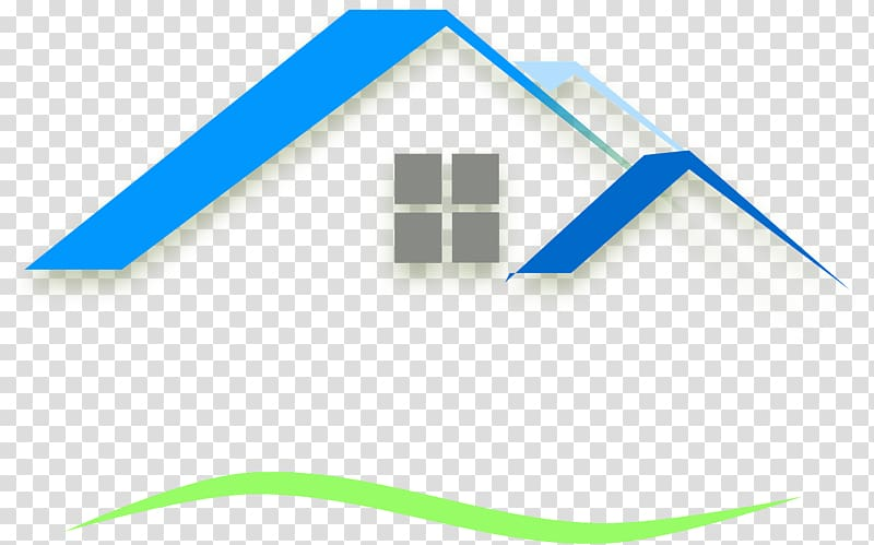 Blue, green, and white house illustration, Roof tiles House.