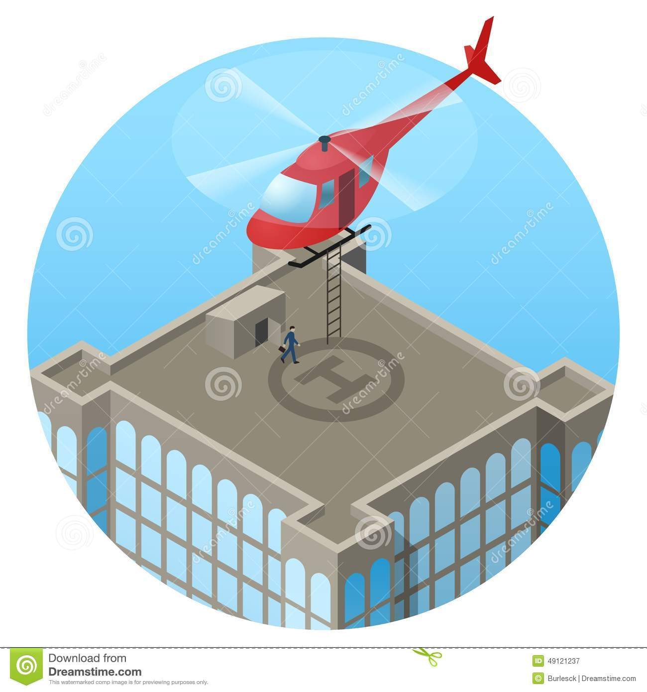 VIP, Landing In Helicopter On Skyscraper Roof Stock Vector.