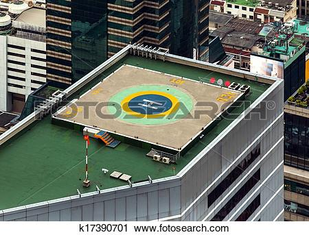 Stock Photography of Helipad (Helicopter landing pad) on roof top.