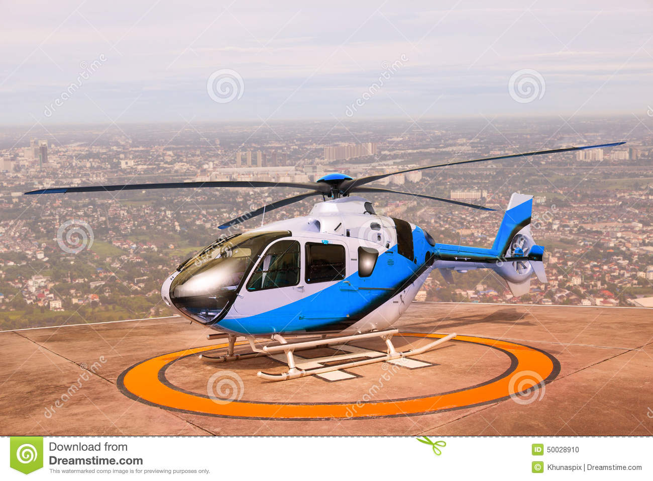 Helicopter Parking On Building Roof Top Use For Commercial Air T.