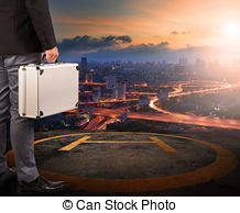 Stock Photos of Helicopter Pad on roof top building.