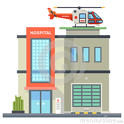 Building Of Hospital. Helicopter On Roof. First Aid Stock.