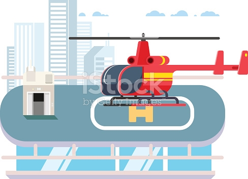 Helicopter On Roof stock vector art 587527998.
