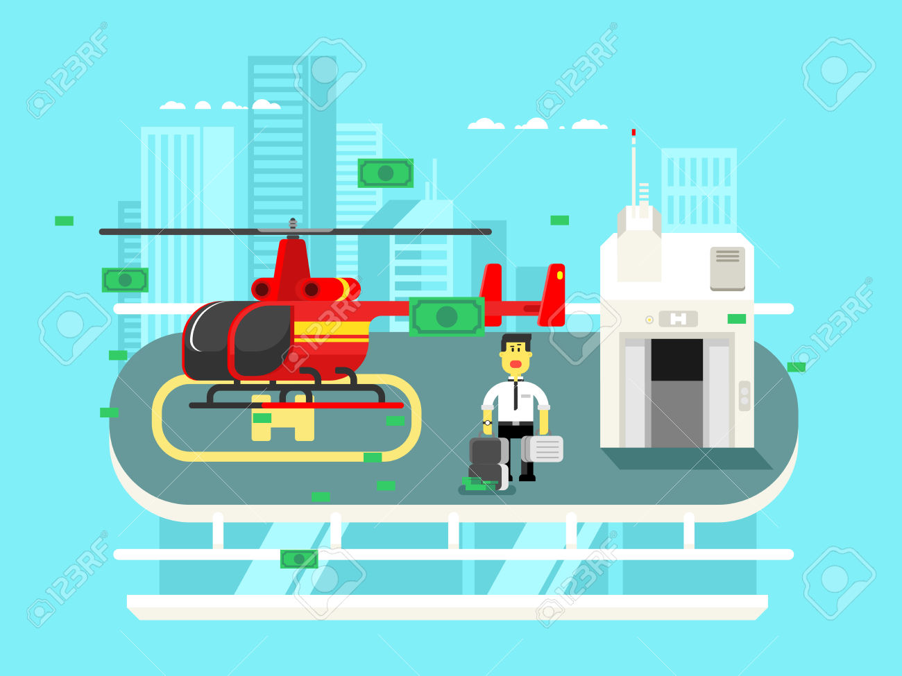 Helicopter On Roof With Man. Transportation Aviation, Helipad.