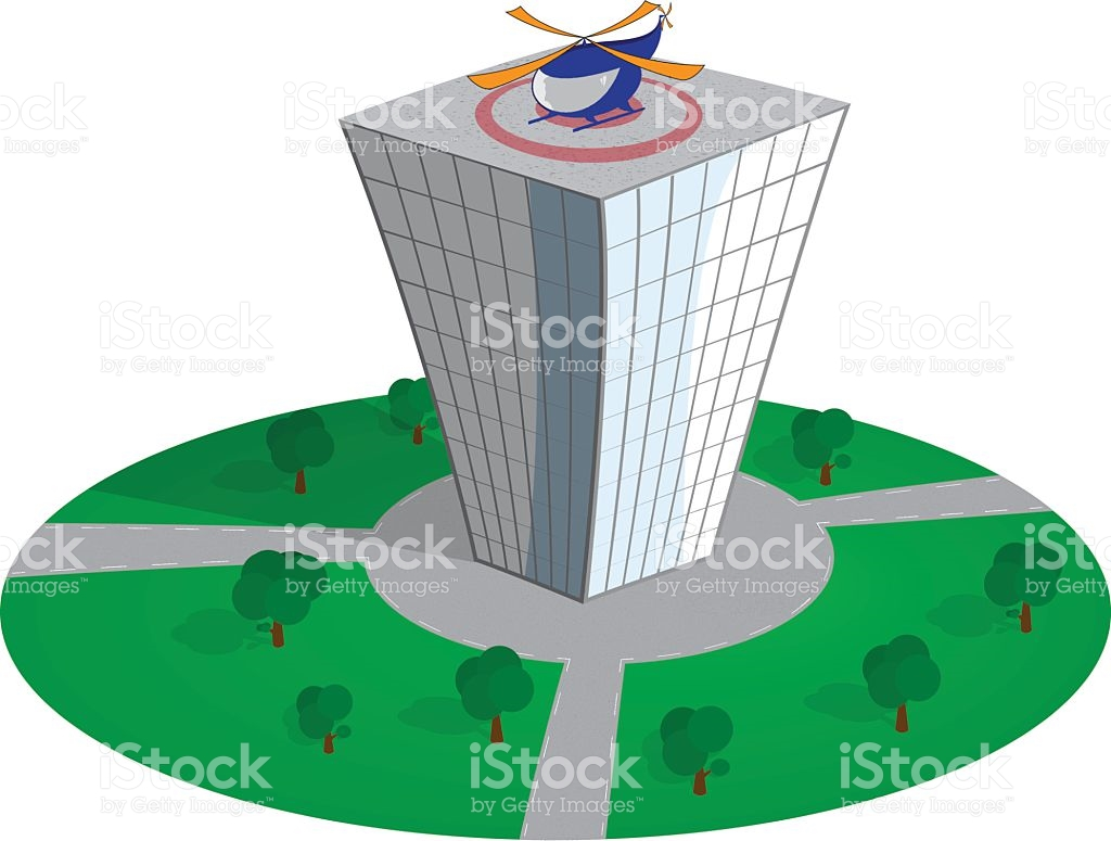 Skyscraper With Helicopter On The Roof stock vector art 538325293.