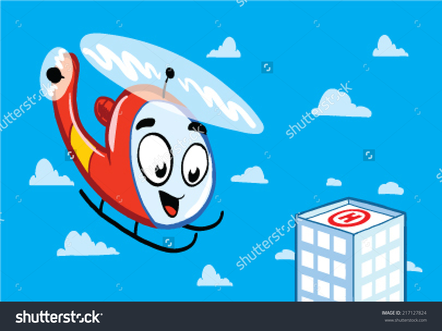 Cartoon Helicopter Landing On Hospital Roof Stock Vector.