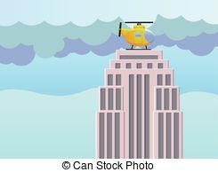 Vectors of VIP, landing in helicopter on skyscraper roof.