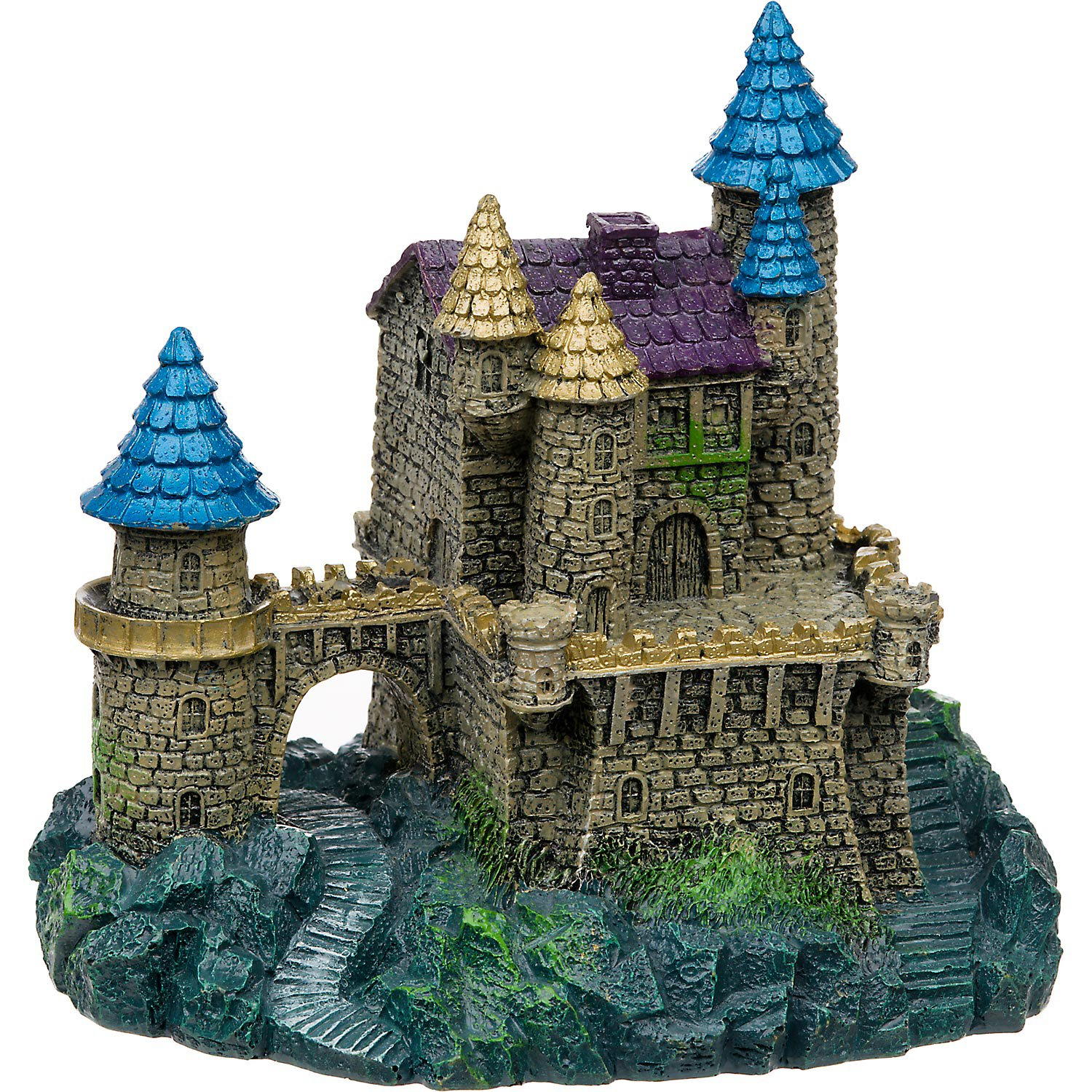 Blue Ribbon Purple & Blue Roof Castle Aquarium Ornament.