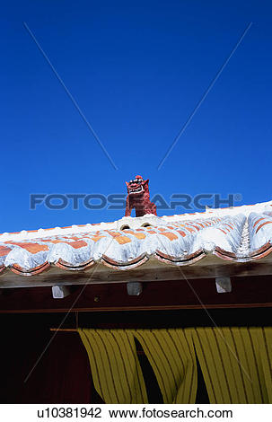 Stock Photo of Lion shaped roof ornament of Okinawa Prefecture.