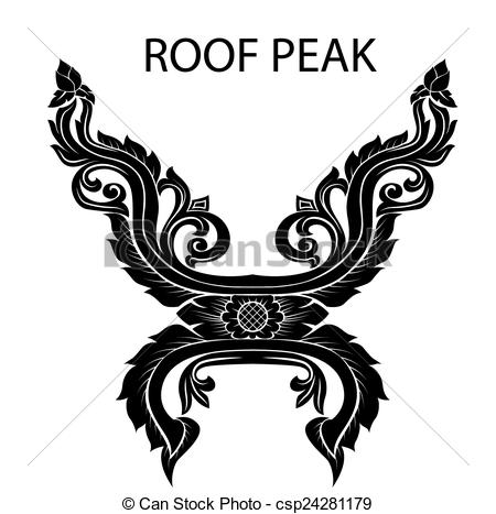 Vectors Illustration of peak of thai or asia roof.