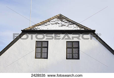 Stock Image of The roof peak of a traditional Icelandic home.