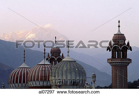 Picture of Pakistan, Chitral, Roof of mosque, Tirich Mir mountain.