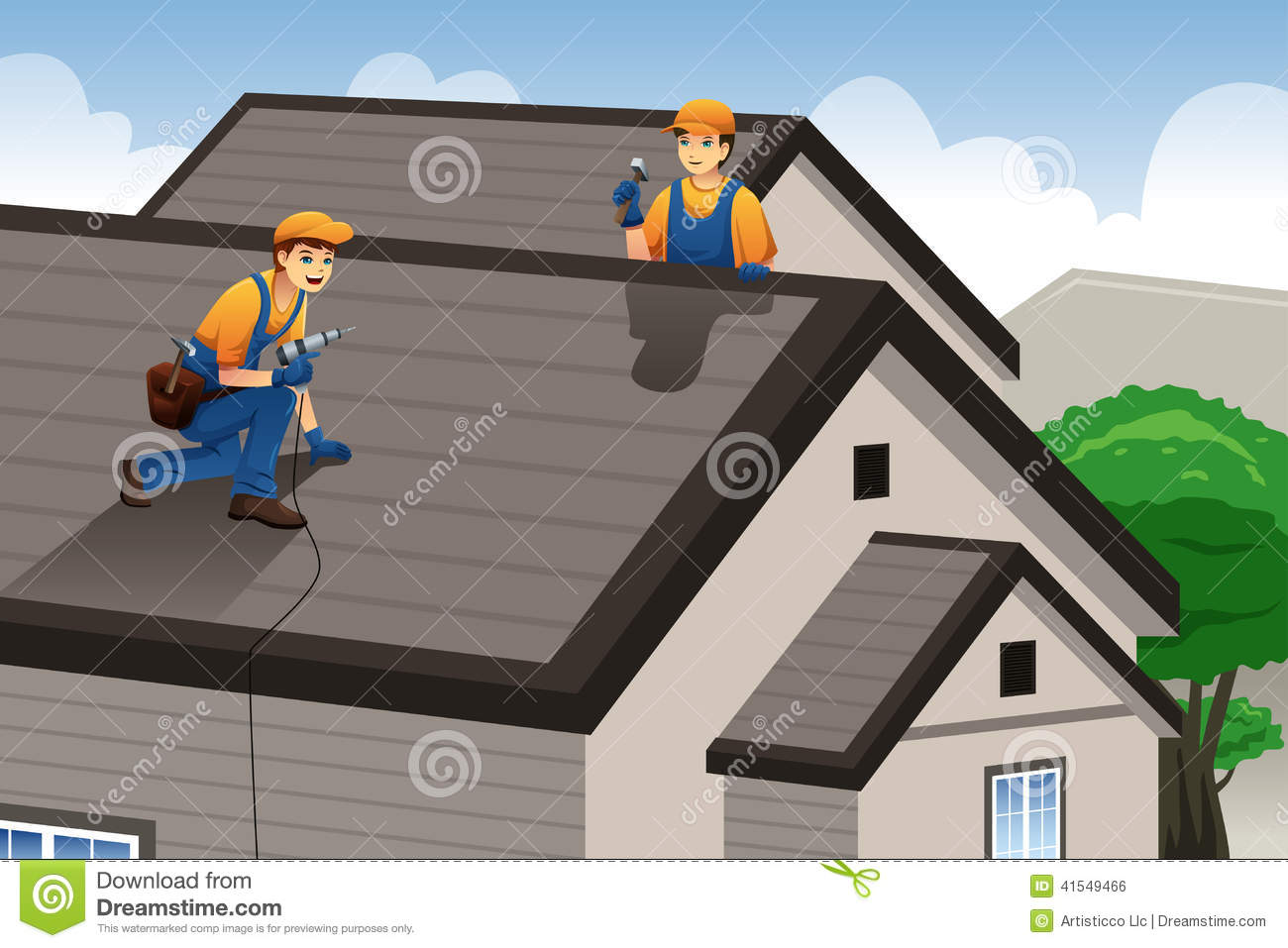 Men Working On Roof Royalty Free Stock Photography.