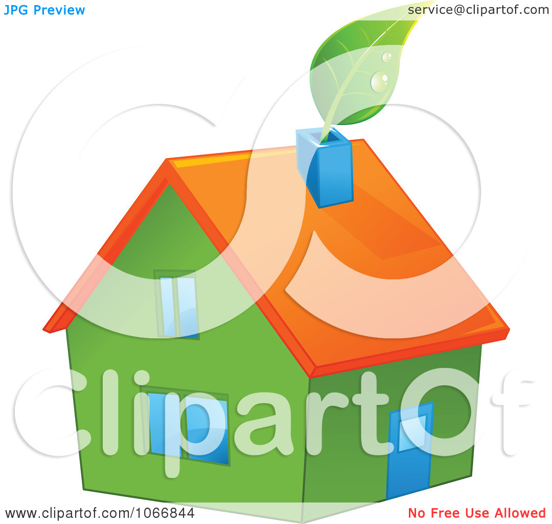 Clipart Green House With An Orange Roof.