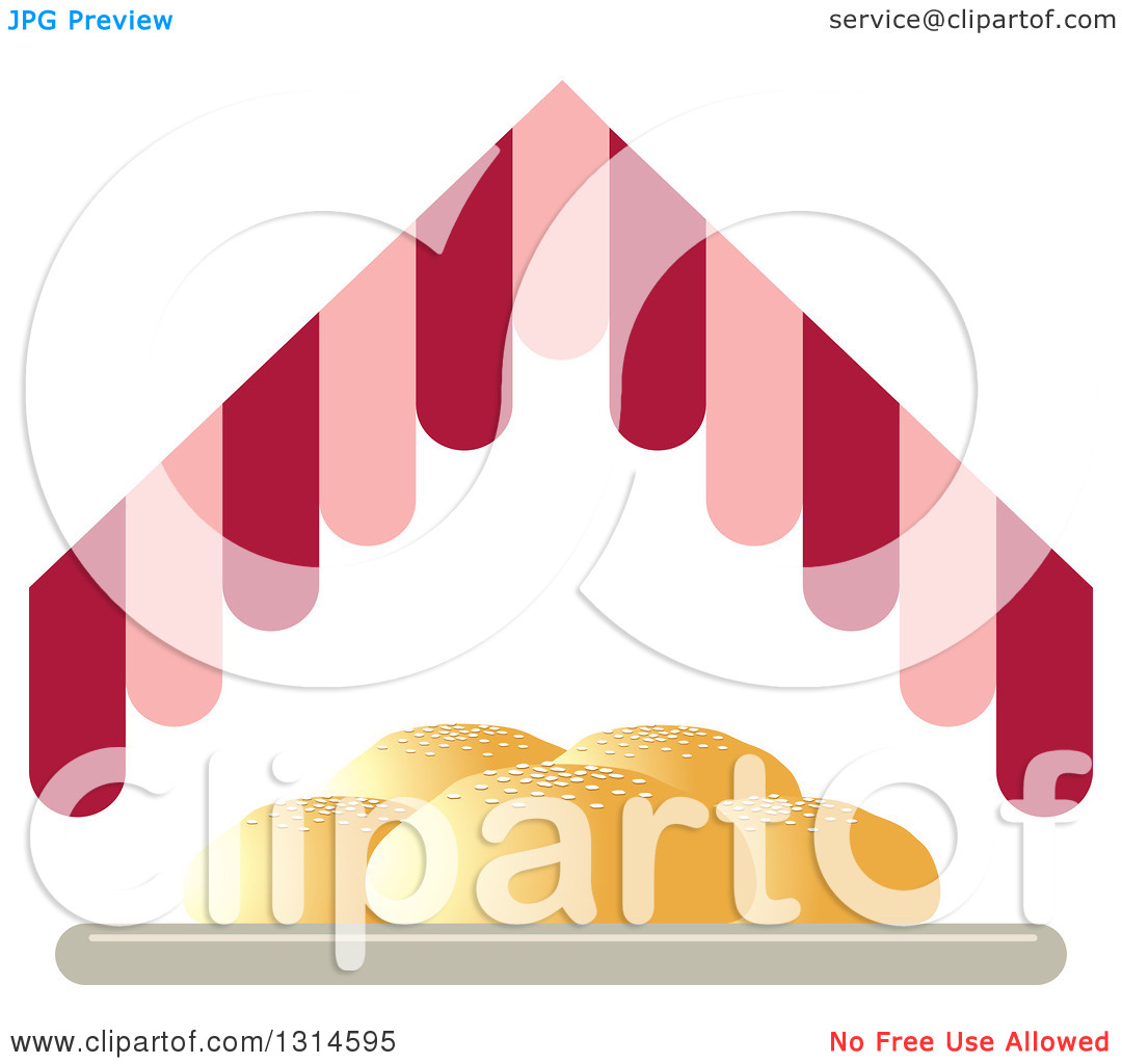 Clipart of a Plate of Buns Under a Pink and Red Hut Roof.
