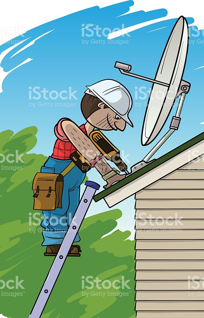 Installation Of The Saltellite Plate On A Roof stock vector art.