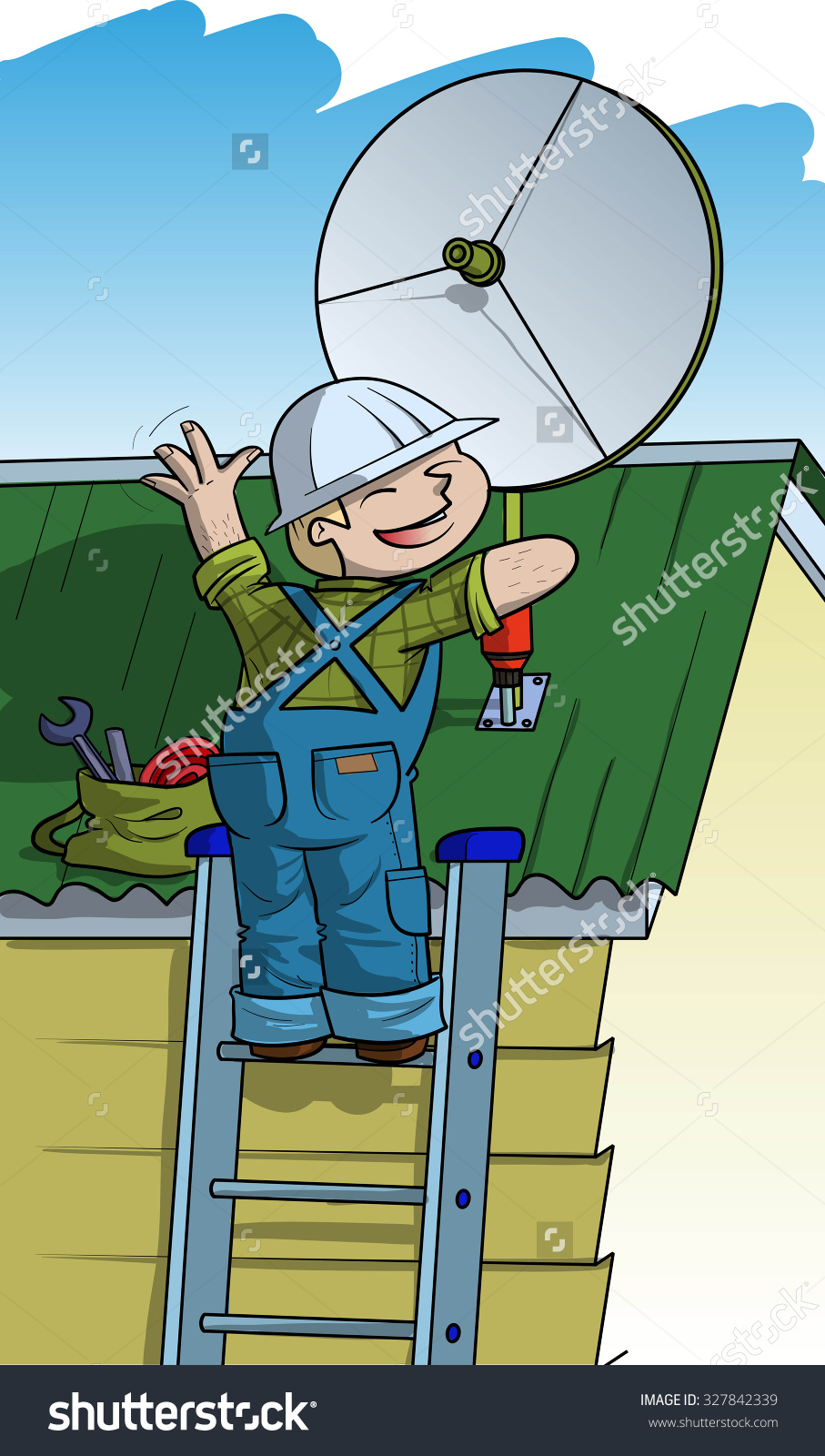 Electrician Installs Satellite Plate On Roof Stock Vector.