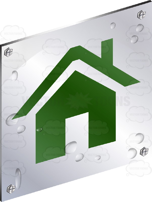 Green House With Roof And Chimney Sign On Metal Plate With Screws.
