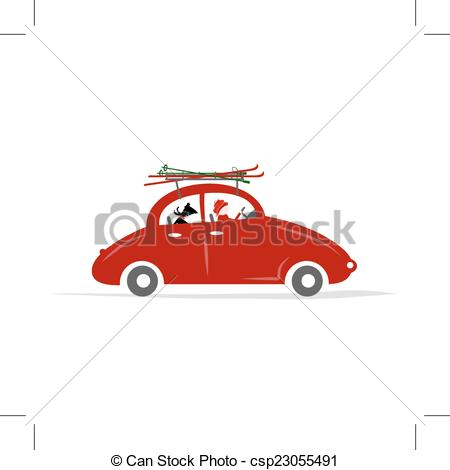 EPS Vectors of Man and dog in red car with skis on the roof rack.