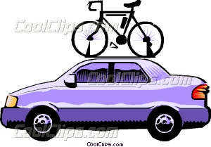 Car with bicycle roof rack Vector Clip art.