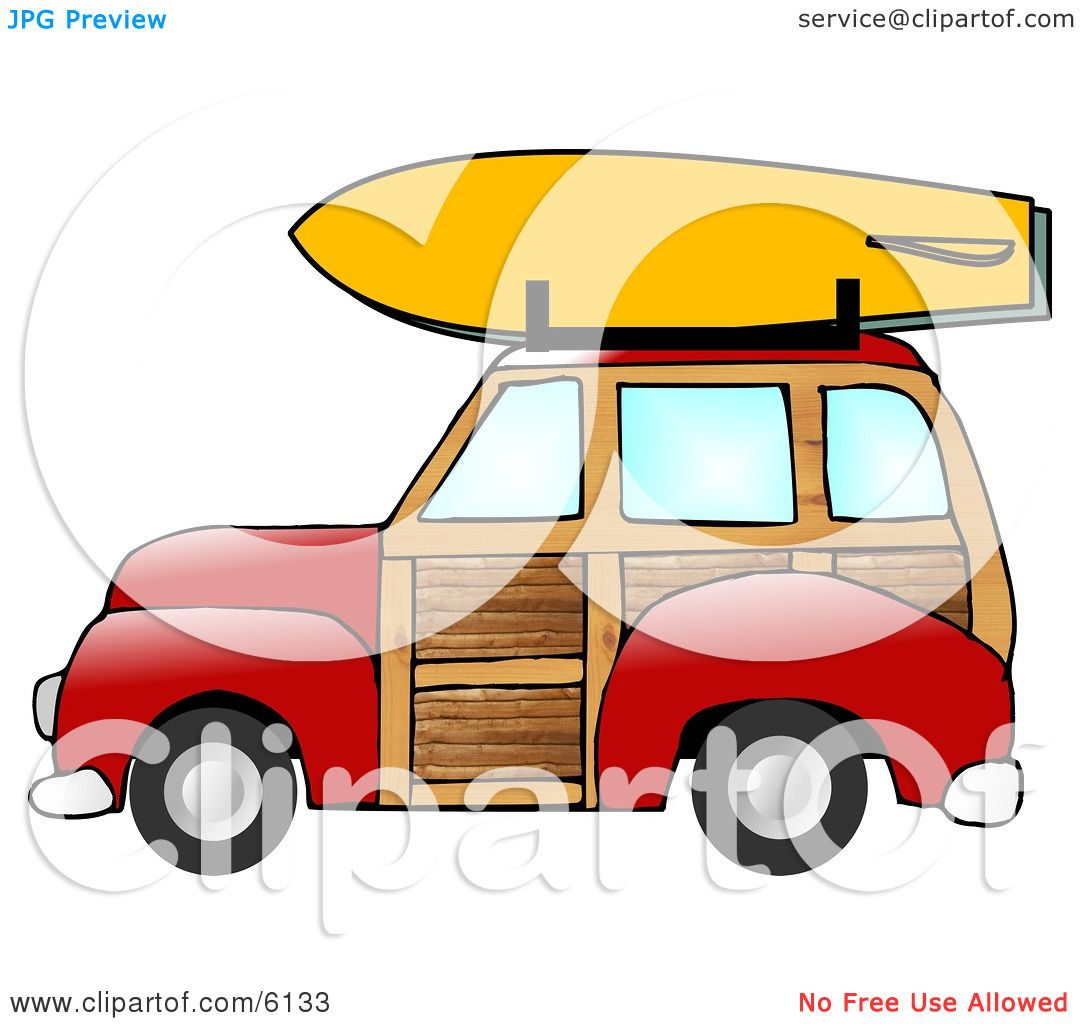Woody Car With a Surfboard on the Roof Rack Clipart Illustration.
