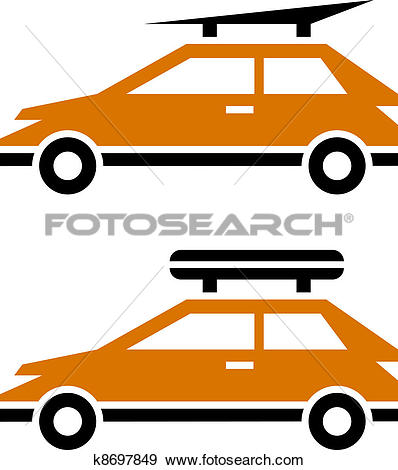 Clip Art of vector car with luggage roof rack icon k8697849.