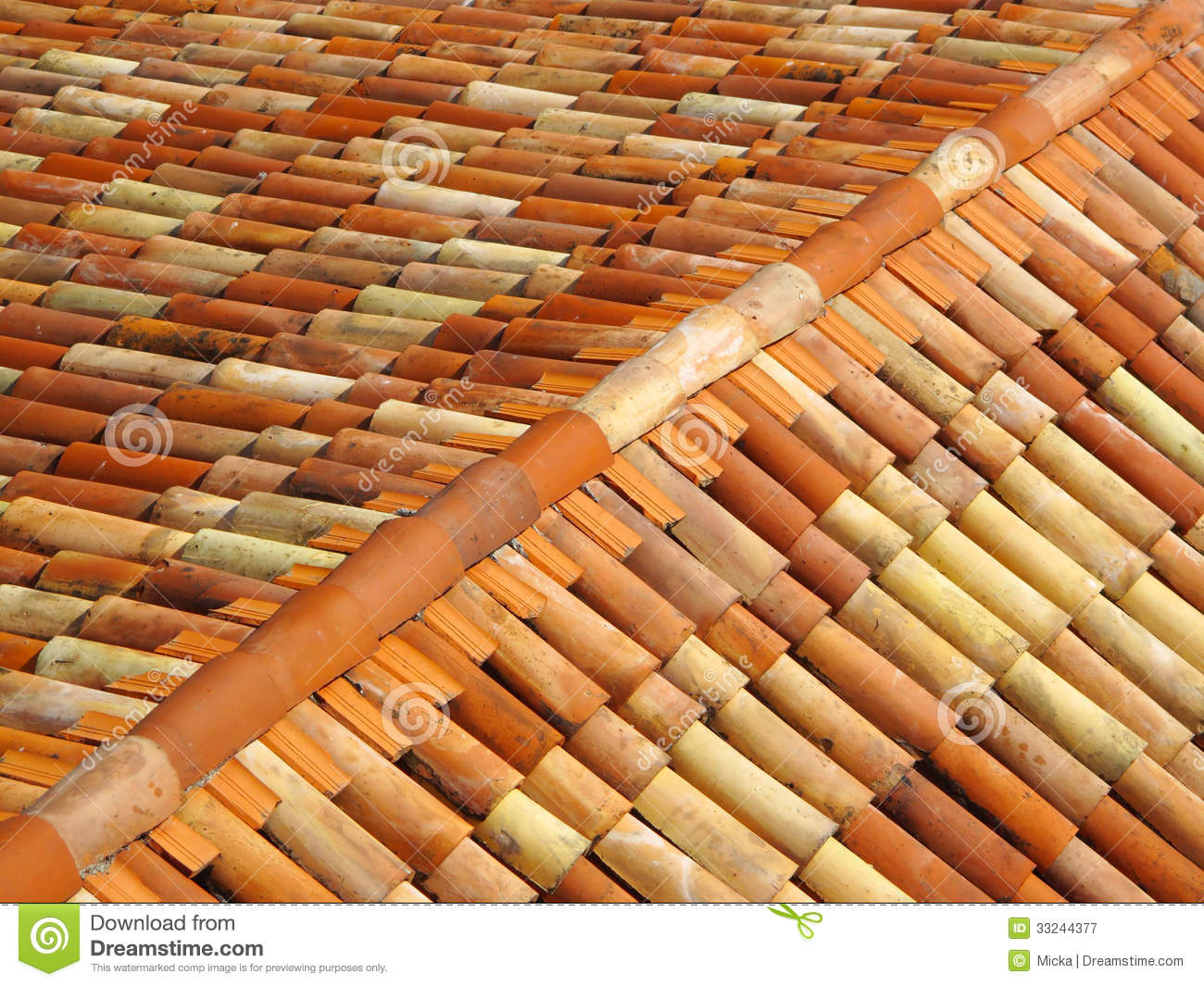 Roof Tiles With Ridge Tiles On Top Royalty Free Stock Photography.