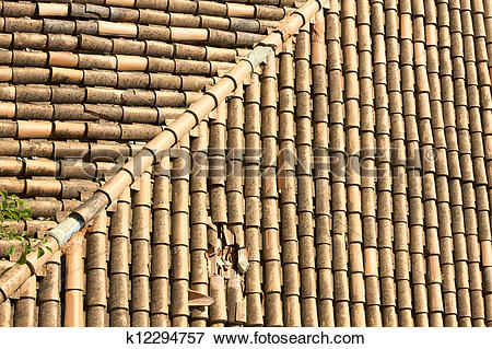 Picture of Background or texture symmetric with Ridge on the roof.