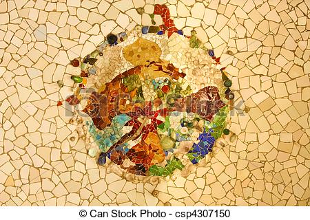 Pictures of Gaudi mosaic, Rosette.