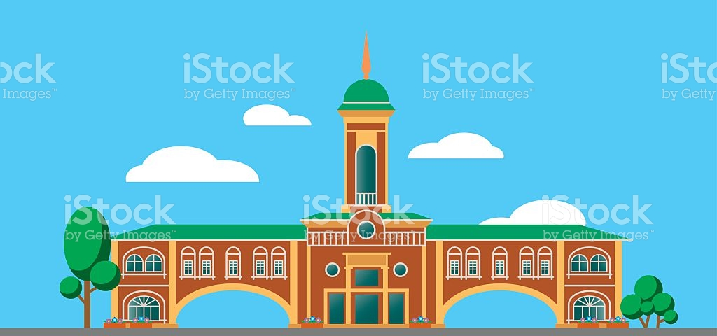 Building With The Spire Against The Sky stock vector art 539220328.
