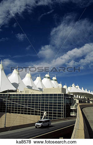 Pictures of tension fabric roof spires of the denver international.