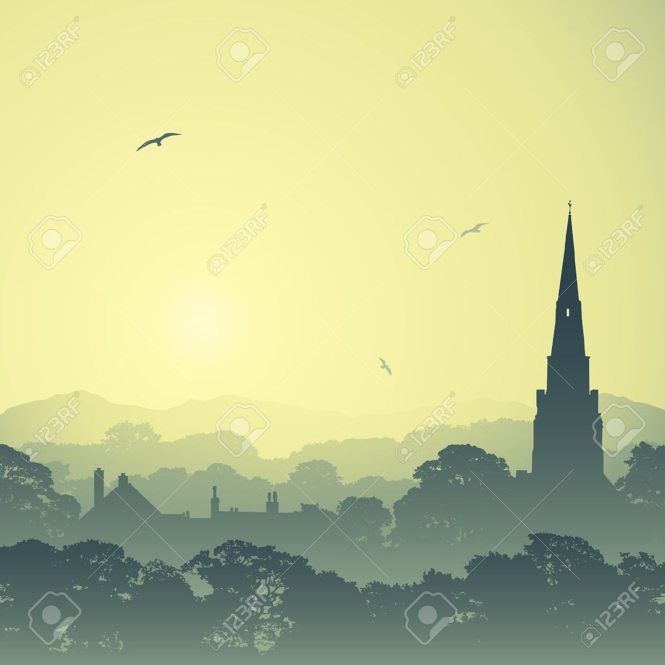 A Country Landscape With Church Spire And Trees Royalty Free.