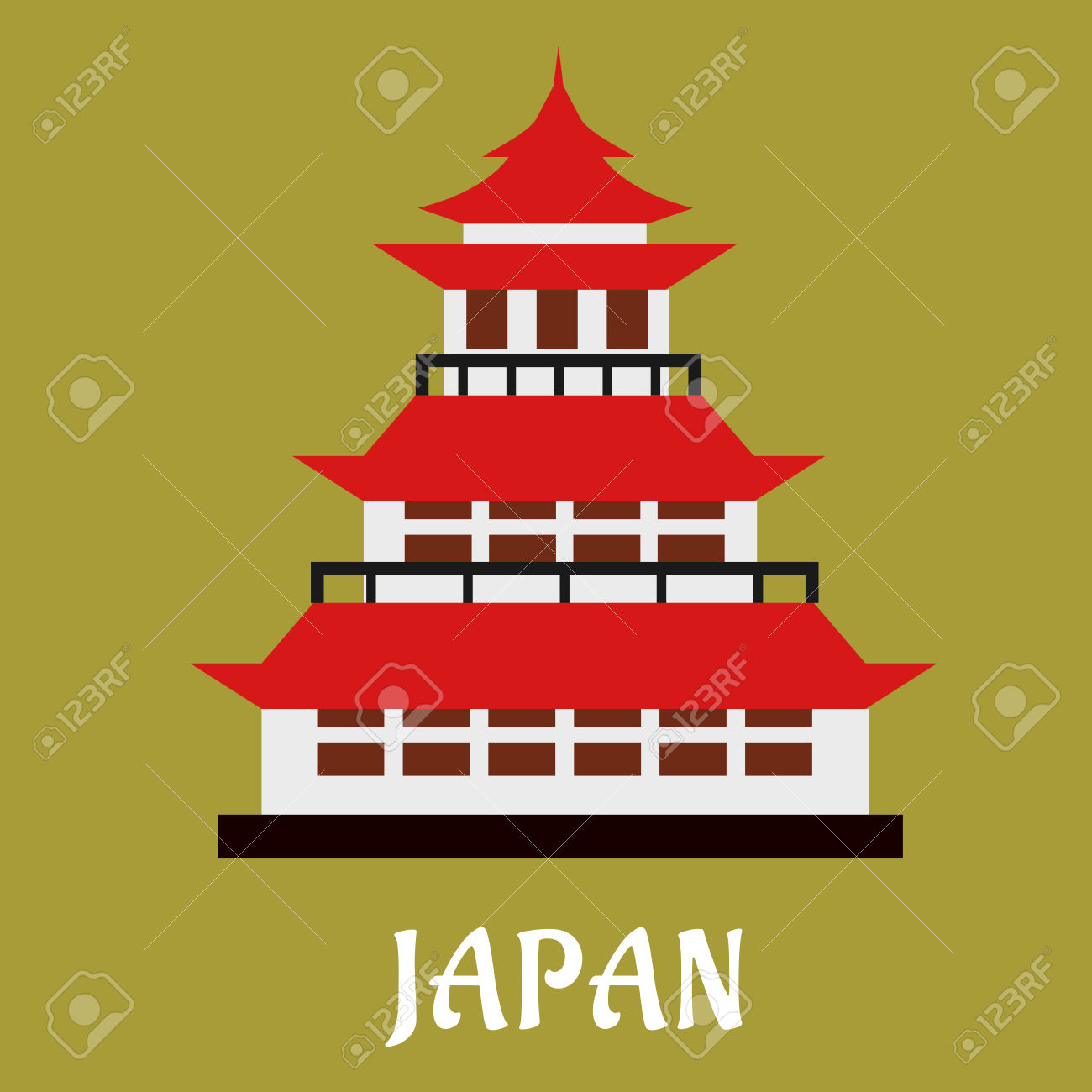 Japanese National Traditional Pagoda With Red Roof And Ornamental.