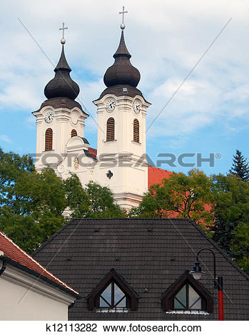 Stock Photo of Spires of Church in Tihany, Hungary k12113282.