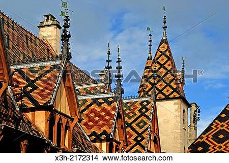 Stock Photo of polychrome tiles of the roof at Hotel.