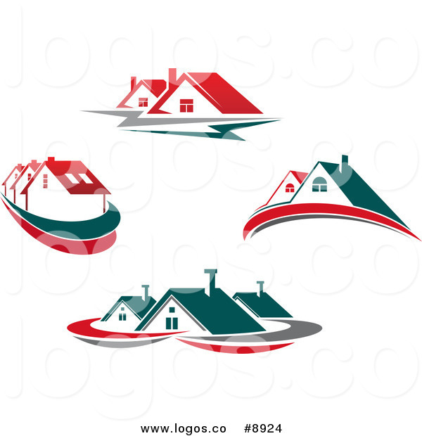Royalty Free Clip Art Vector Logos of Houses with Teal and Red.