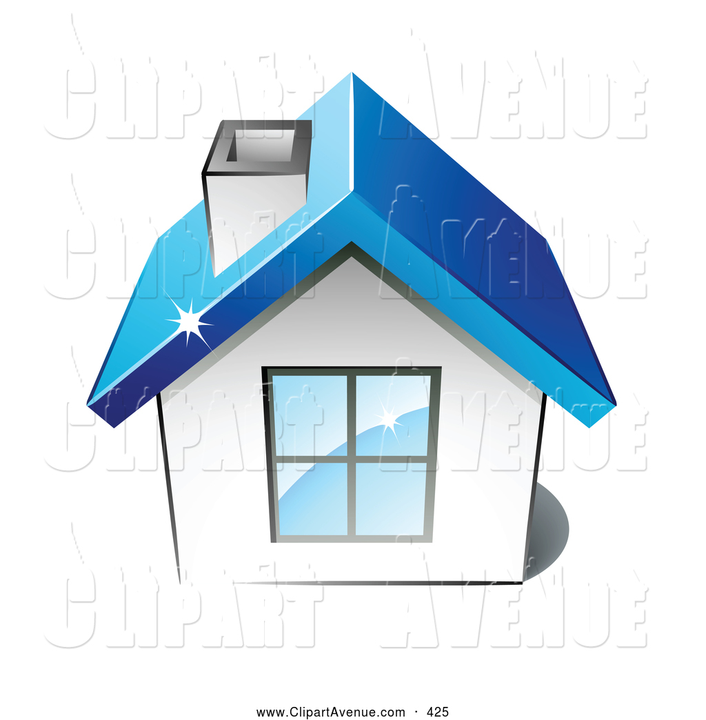Avenue Clipart of a Little White Home with a Big Window, Chimney.