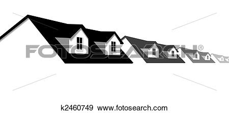 Clip Art of home row houses border with dormer roof windows.