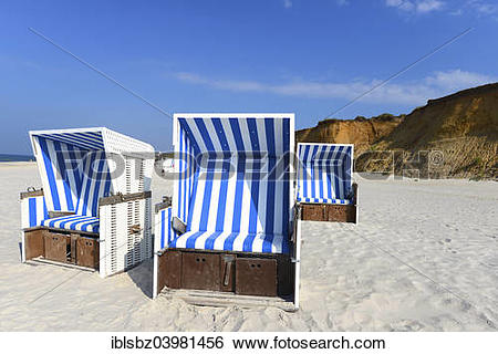 "Stock Images of ""Roofed wicker beach chairs, Rotes Kliff sea cliff."