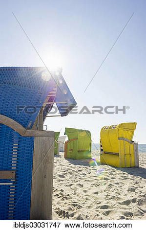"Picture of ""Colourful roofed wicker beach chairs, Amrum, North."