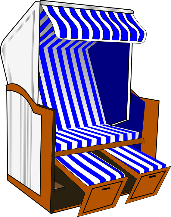 Free vector graphic: Roofed Wicker Beach Chair.