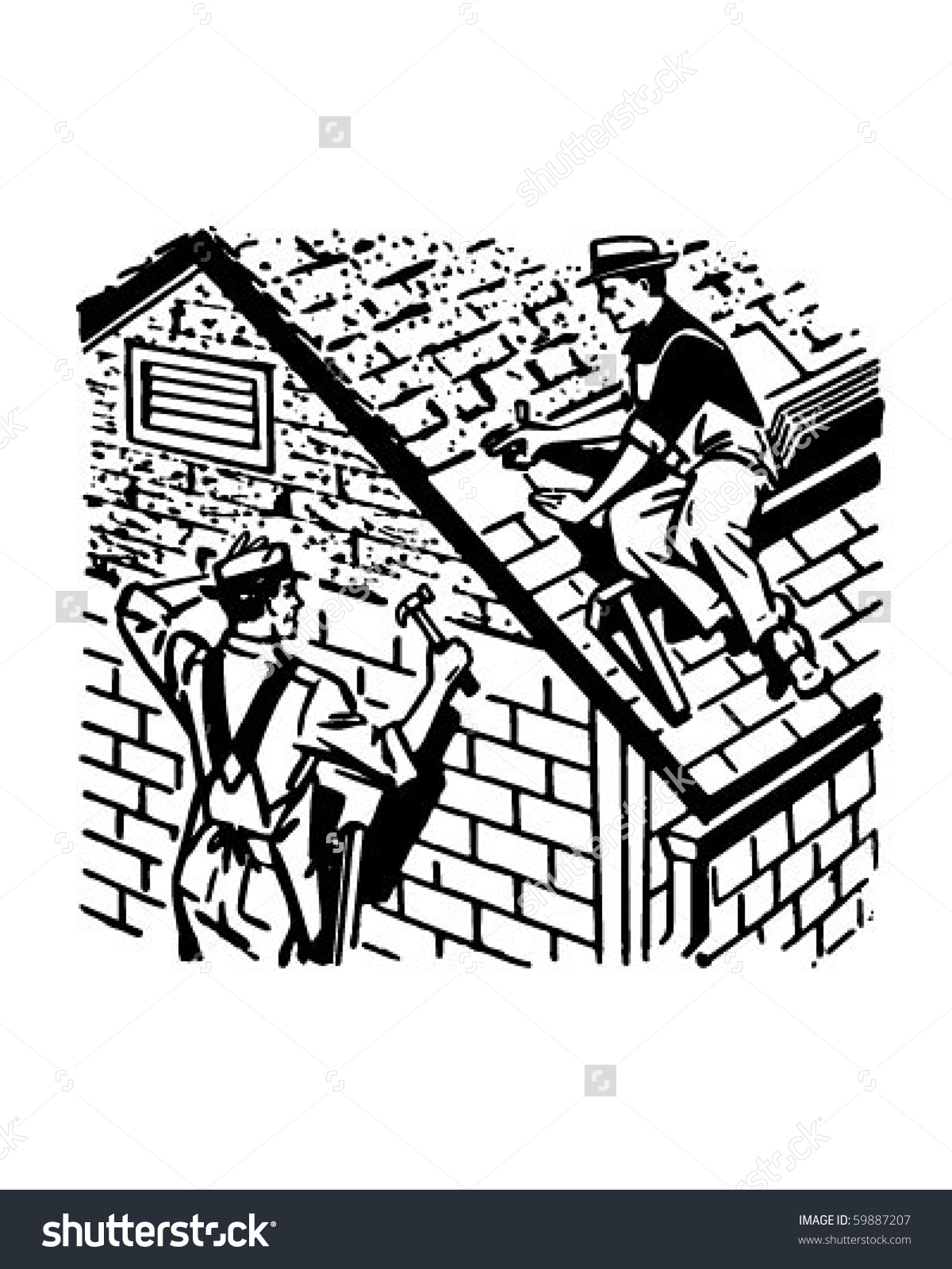 Roofers Work Retro Clip Art Stock Vector 59887207.