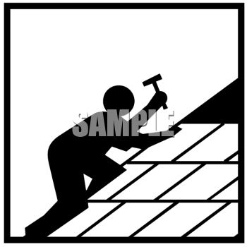 Silhouette of a Figure Roofing a House.