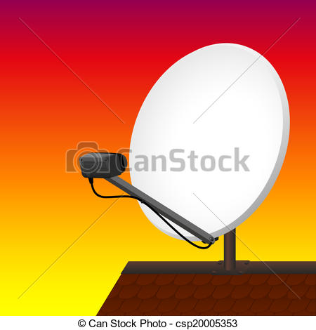 Clipart Vector of Satellite Dish Rooftop Sunset.
